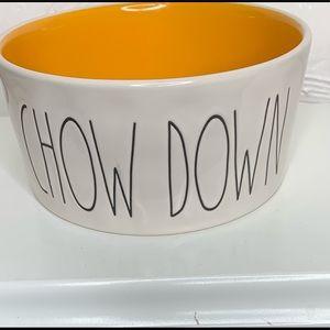 Rae Dunn Artisan Dog Bowl Orange Chow Down